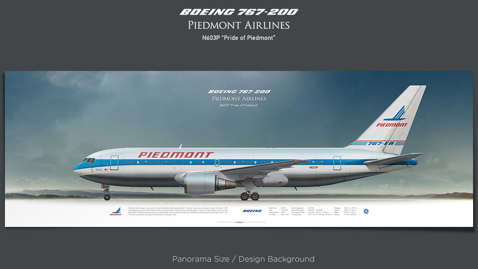 Boeing 767-200 Piedmont Airlines, plane prints, retired pilot gift, aviation posters, airliners prints, civil aircraft