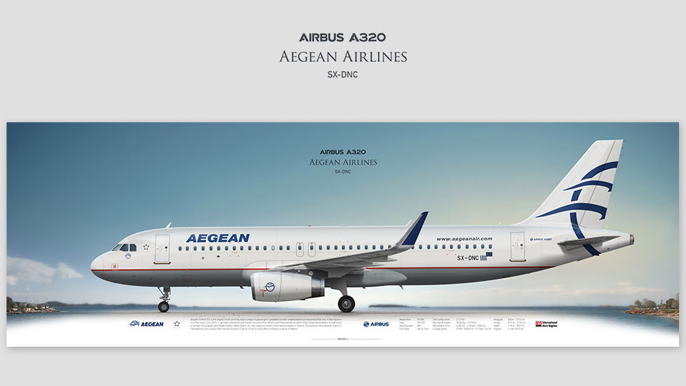 Airbus A320 Aegean Airlines, posterjetavia, gifts for pilots, aviation, aviation art, avgeek, airplane pictures, euroaviation