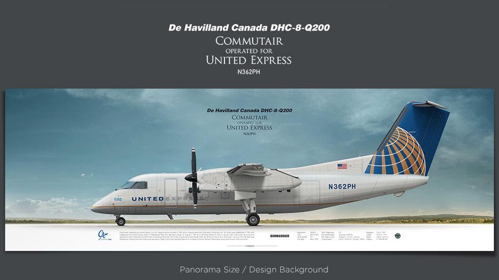 De Havilland Canada DHC-8-Q200 CommutAir, UnitedExpress, plane prints, retired pilot gift, aviation posters, airliners prints