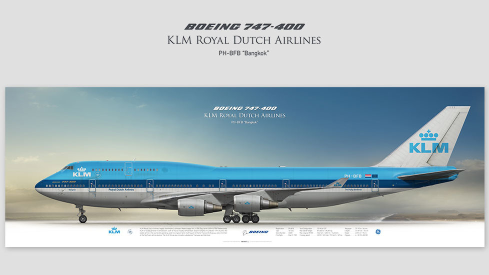 Boeing 747-400 KLM Royal Dutch Airlines, posterjetavia, gifts for pilots, aviation, airliner, bigplane, jumbojet