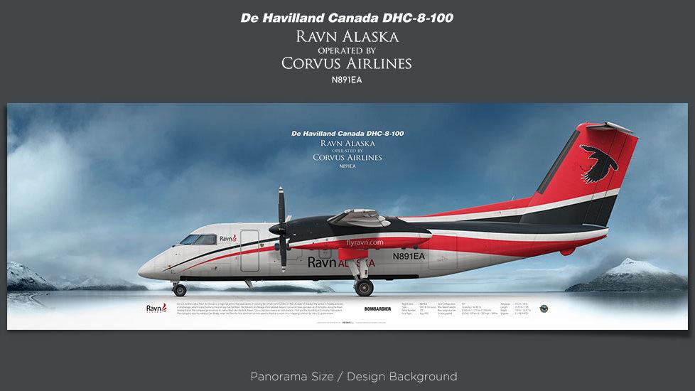 De Havilland Canada DHC-8-100 Ravn Alaska, Corvus Airlines, plane prints, retired pilot gift, avia posters, airliners prints
