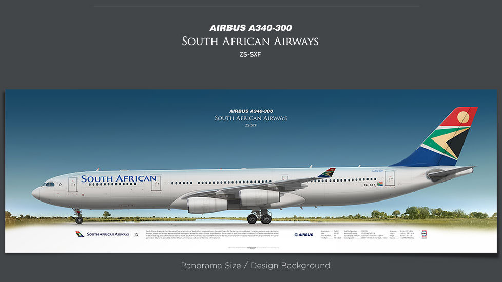 Airbus A340-300 South African Airways, gifts for pilots, aviation prints, aircraft posters, custom posters, retired pilot