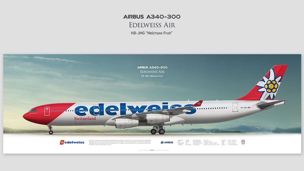 Airbus A340-300 Edelweiss Air , posterjetavia, gifts for pilots, aviation, airliner, pilotlife, aviationdaily, aviationart