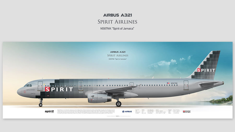 Airbus A321 Spirit Airlines, posterjetavia, profile prints, gift for pilots, aviation, N587NK