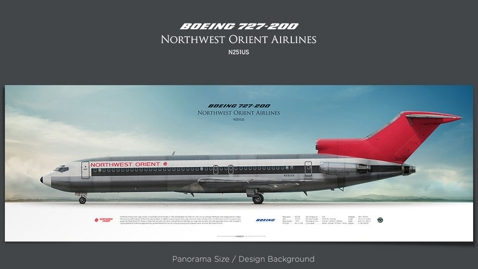 Boeing 727-200 Northwest Orient Airlines, plane prints, retired pilot gift, aviation posters for sale, vintage jetliner print