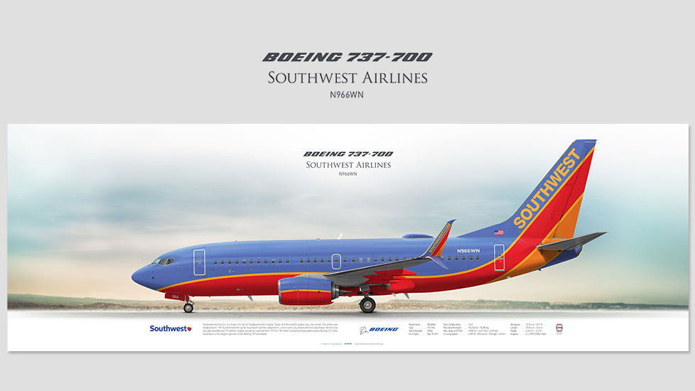 Boeing 737-700 Southwest Airlines, posterjetavia, airliners profile prints, aviation collectibles prints