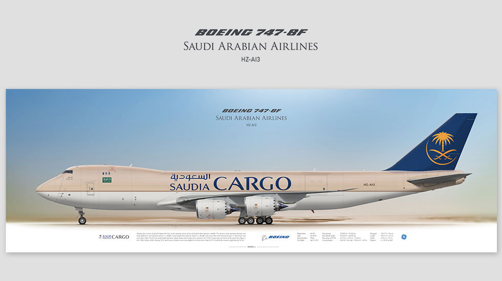 Boeing 747-8F Saudia Cargo, posterjetavia, profile prints, gift for pilots, aviation, jumbojet