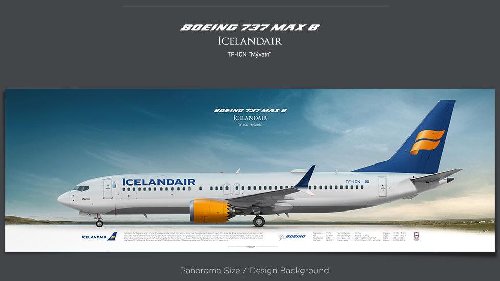 Boeing 737 MAX 8 Icelandair, plane prints, retired pilot gift, aviation posters, jetliner prints, pilot presnt, ICE