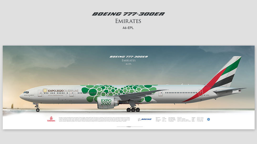 Boeing 777-300ER Emirates, gift for pilots, aviation art prints, aircraft print, custom posters, plane picture, Dibai