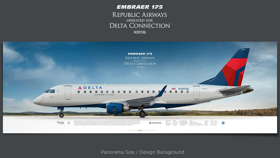 Embraer 175 Republic Airways, Delta Connection, plane prints, retired pilot gift, aviation posters, airliners prints, e-jets