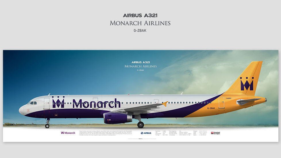Airbus A321 Monarch Airlines, posterjetavia, gifts for pilots, aviation, airliner, pilotlife, aviationdaily, aviationart