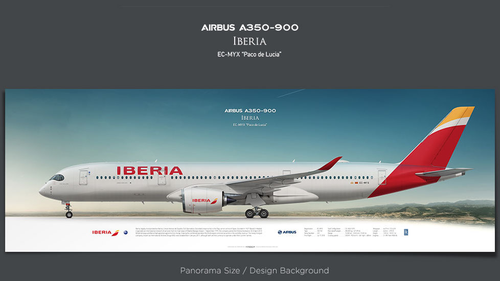 Airbus A350-900 Iberia, plane prints, retired pilot gift, aviation posters, airliners prints, XWB, IBE, civil aircraft print