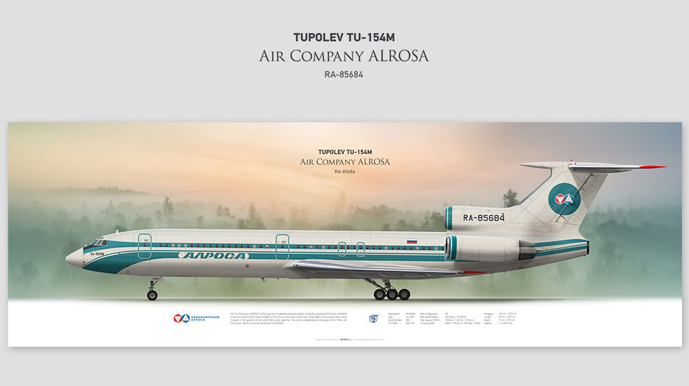 Tupolev Tu-154M Air Company ALROSA, posterjetavia, profile prints, gift for pilots, aviation, airplane picture, airline, Ижма