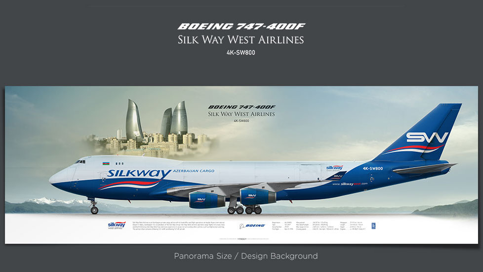 Boeing 747-400F Silk Way West Airlines, gifts for pilots, aviation prints, aircraft posters, custom posters, retired pilot