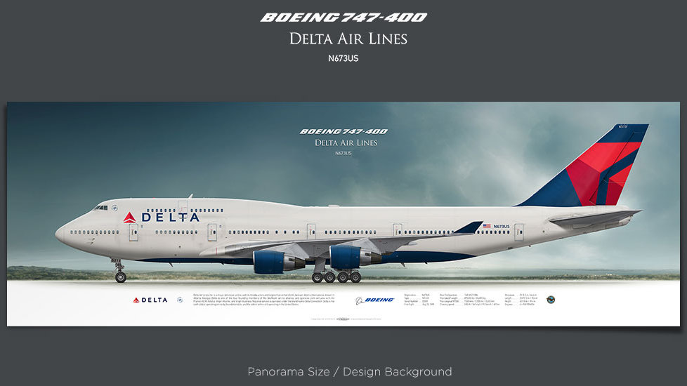 Boeing 747-400 Delta Air Lines, plane prints, retired pilot gift, aviation posters, airliners prints, jumbo jet, jetliner