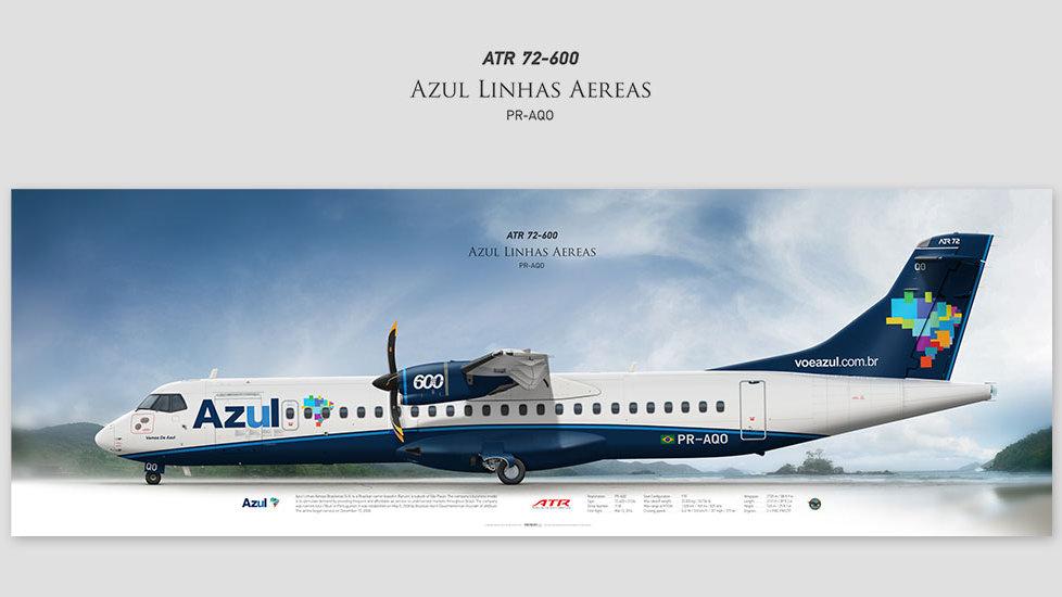 ATR 72-600 Azul Linhas Aéreas, posterjetavia, gifts for pilots, aviation, airliner, pilotlife, aviationdaily, aviationart