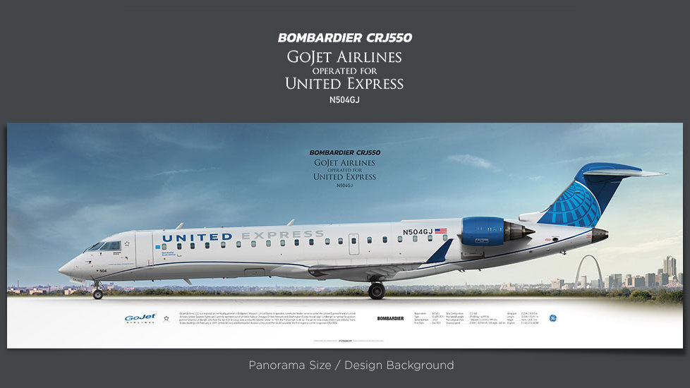 Bombardier CRJ550 GoJet Airlines, plane prints, airplane poster, retired pilot gift, airline prints, regional jet prints