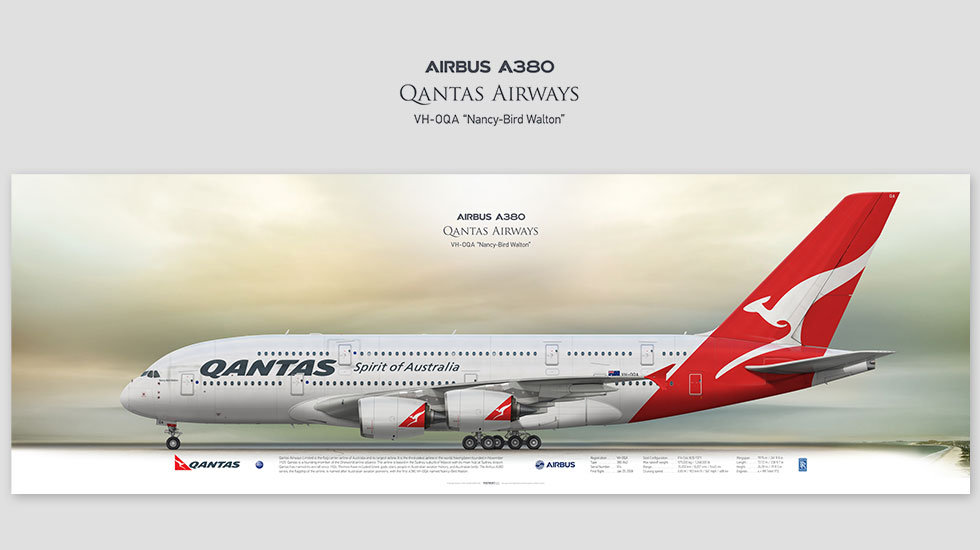 Airbus A380 Qantas Airways, posterjetavia, airliners profile prints, aviation collectibles prints