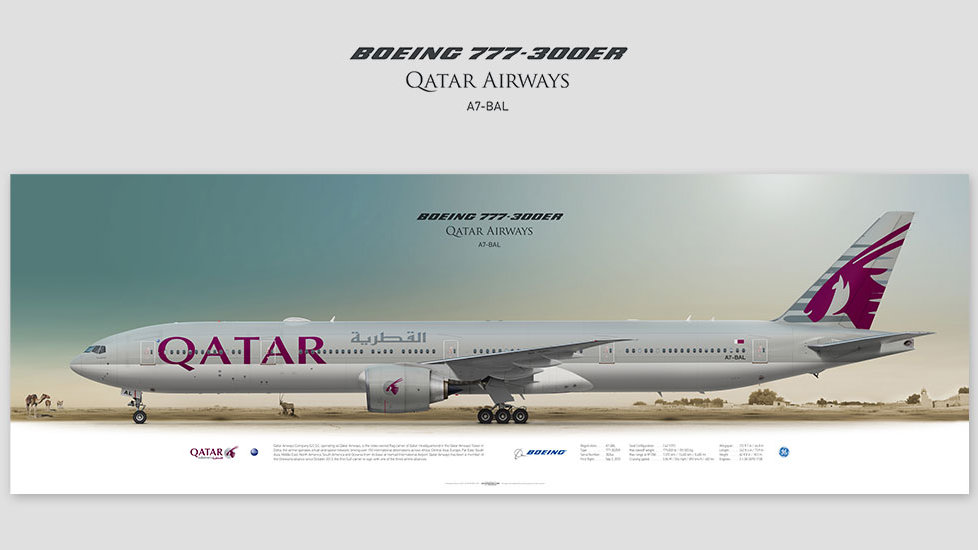 Boeing 777-300ER Qatar Airways, gift for pilots, aviation prints, avia poster, aircraft profile art prints, QTR