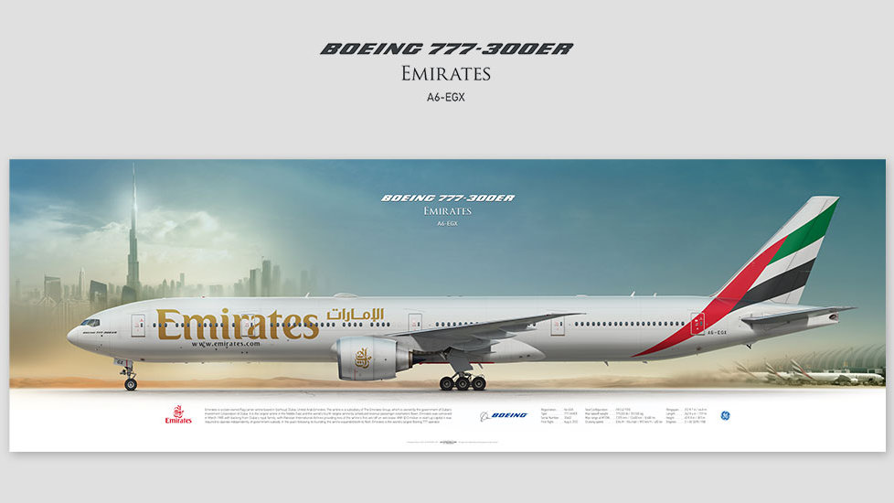 Boeing 777-300ER Emirates, gift for pilots, aviation art prints, aircraft print, custom posters, plane picture