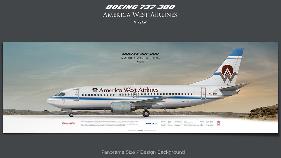 Boeing 737-300 America West Airlines, plane prints, retired pilot gift, aviation posters, airliners prints, vintage airline