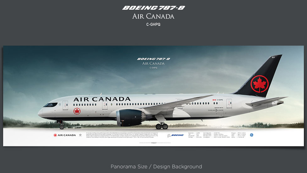 Boeing 787-8 Air Canada, plane prints, retired pilot gift, aviation posters, airliners prints, dremliner, civil plane print