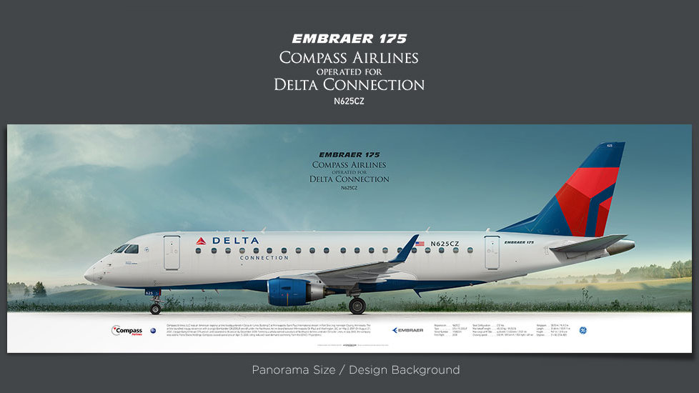 Embraer 175 Compass Airlines, plane prints, airplane poster, retired pilot gift, airline prints, dela connection, jet poster