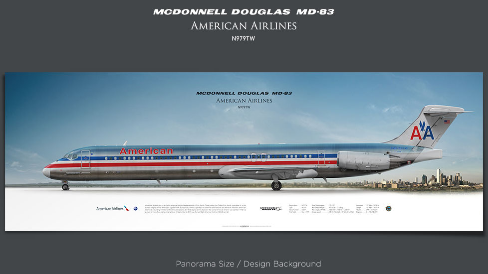 McDonnell Douglas MD-83 American Airlines, plane prints, retired pilot gift, aviation posters, airliners prints, jetliner