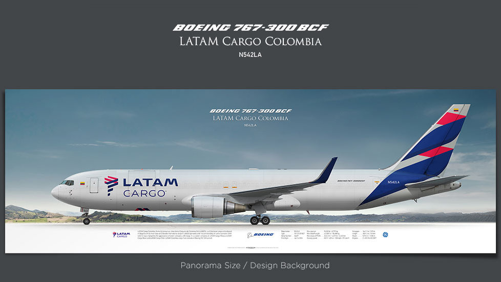Boeing 767-300 LATAM Cargo Colombia, gifts for pilots, aviation prints, aircraft posters, custom posters, retired pilot