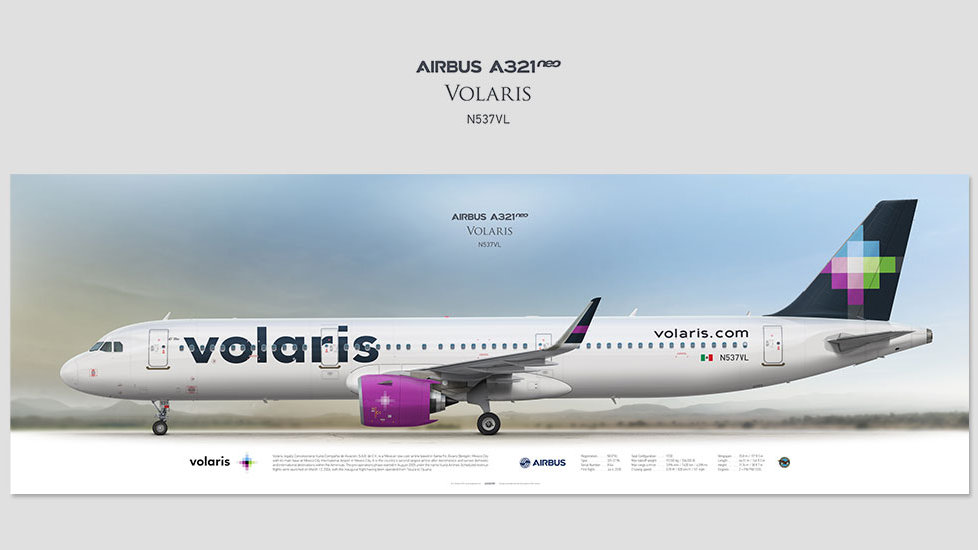 Airbus A321neo Volaris, posterjetavia, airliners profile prints, aviation collectibles prints