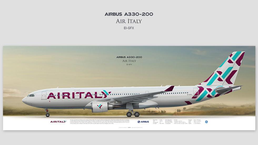 Airbus A330-200 Air Italy, gift for pilots, aviation prints, avia poster, aircraft profile art prints, aircraft illustration