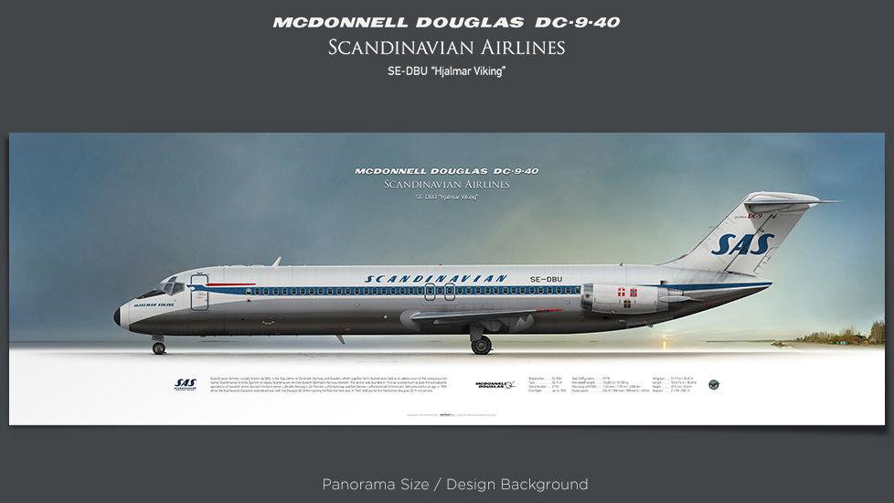 McDonnell Douglas DC-9-40 SAS Scandinavian Airlines, plane prints, retired pilot gift, aviation posters, airliners prints
