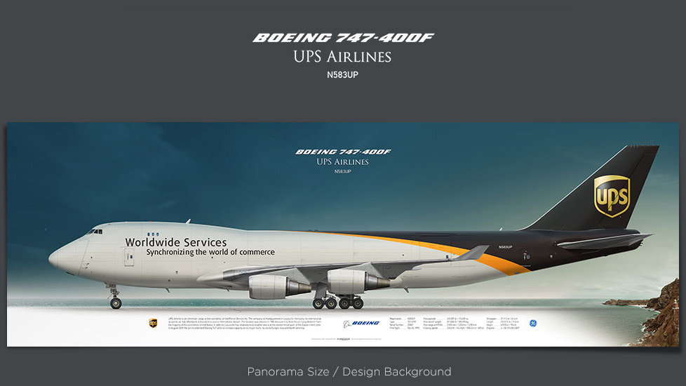 Boeing 747-400F UPS Airlines, plane prints, retired pilot gift, aviation posters, airliners prints, cargo plane, jumbojet