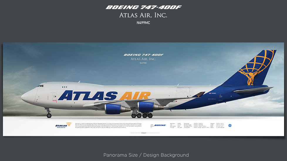 Boeing 747-400F Atlas Air, GTI, plane prints, retired pilot gift, aviation posters, airliners prints, cargo plane, jumbo jet