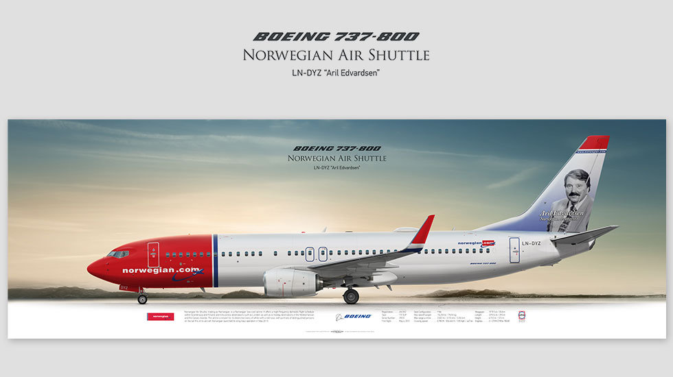 Boeing 737-800 Norwegian, gift for pilots, aviation art prints, aircraft print, custom posters, plane picture