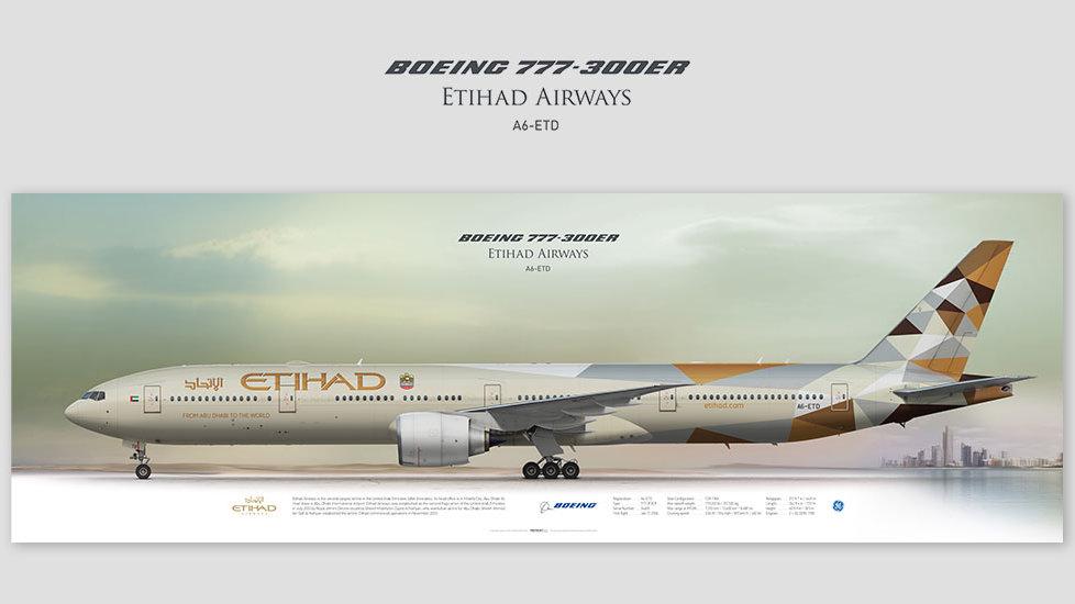 Boeing 777-300ER Etihad Airways, posterjetavia, gifts for pilots, aviation, aviation art , avgeek, airplane pictures, ETD