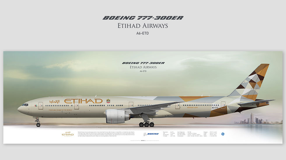 Boeing 777-300ER Etihad Airways, posterjetavia, gifts for pilots, aviation, aviation art , avgeek, airplane pictures, ETD