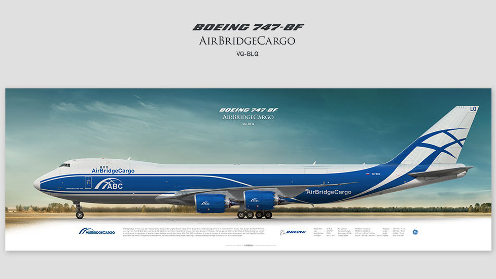 Boeing 747-8f AirBridgeCargo, gift for pilots, aviation art prints, aircraft print, custom posters, plane pict, Volga-Dnepr