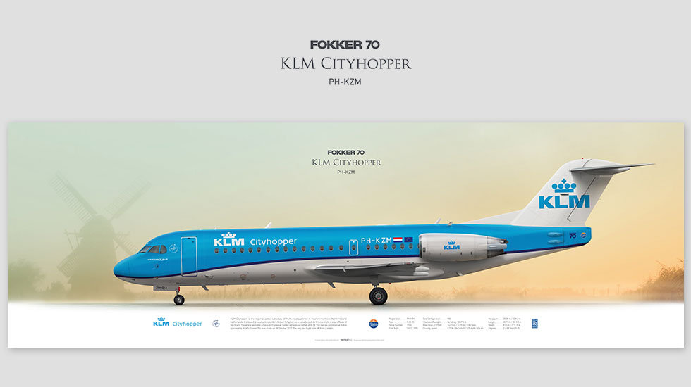 Fokker 70 KLM Cityhopper, posterjetavia, profile prints, gift for pilots, aviation