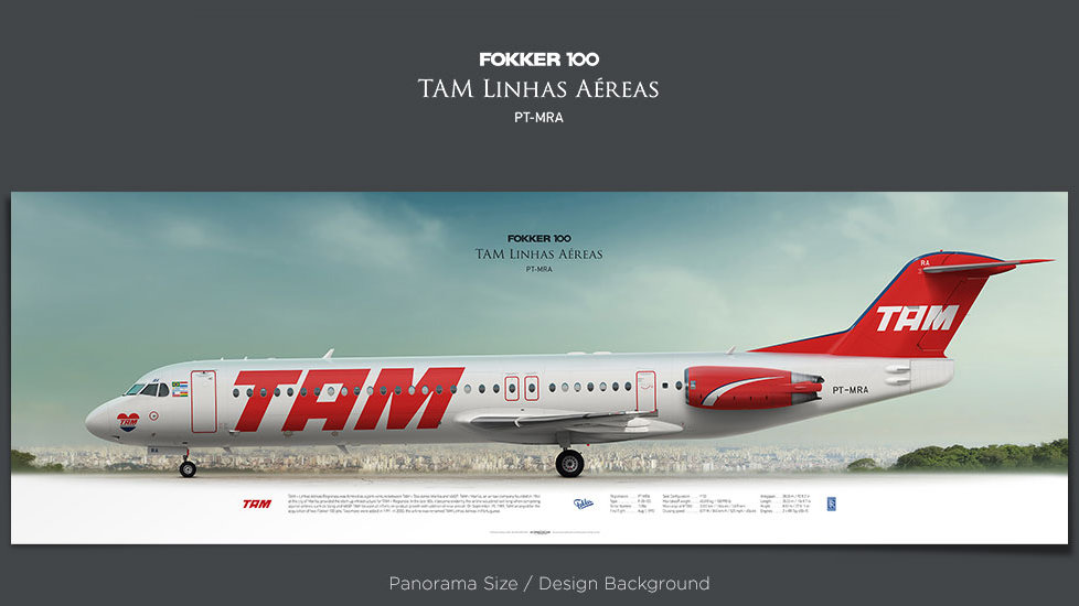 Fokker 100 TAM Linhas Aéreas, plane prints, retired pilot gift, aviation posters, airliners prints, vintage aircraft, ttail