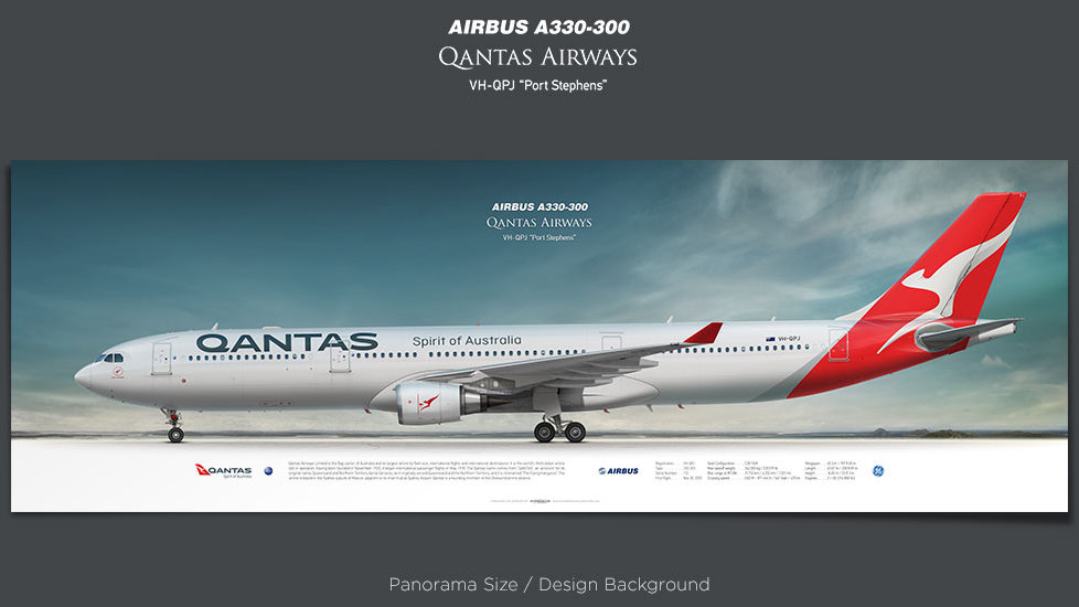 Airbus A330-300 Qantas Airways, plane prints, retired pilot gift, aviation posters, airliners prints
