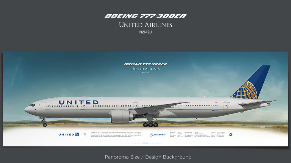Boeing 777-300ER United Airlines, plane prints, retired pilot gift, aviation posters, airliners prints, UAL, pilotlife