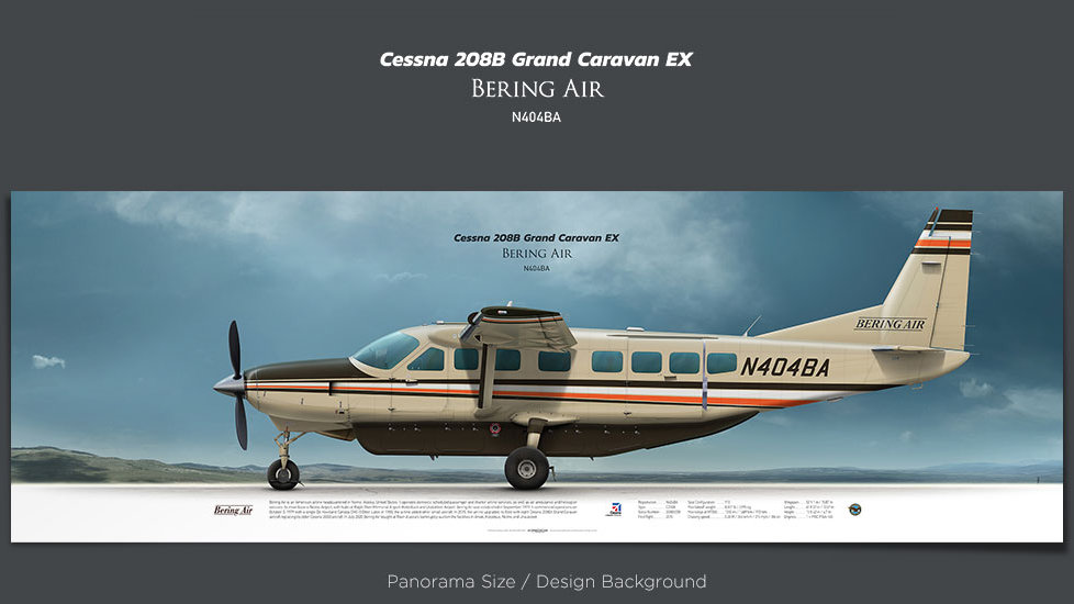 Cessna C208B Grand Caravan EX Bering Air, plane prints, retired pilot gift, aviation posters, turboprop prints