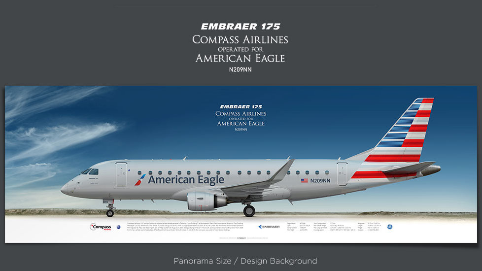 Embraer 175 Compass Airlines, American Eagle,  plane prints, retired pilot gift, aviation posters, regional jet, CPZ
