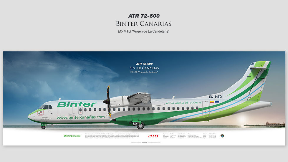 ATR 72-600 Binter Canarias, gift for pilots, aviation art prints, aircraft poster, custom posters, plane picture