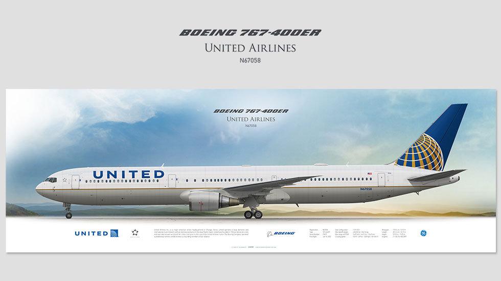 United Airlines Boeing 767-400ER N67058