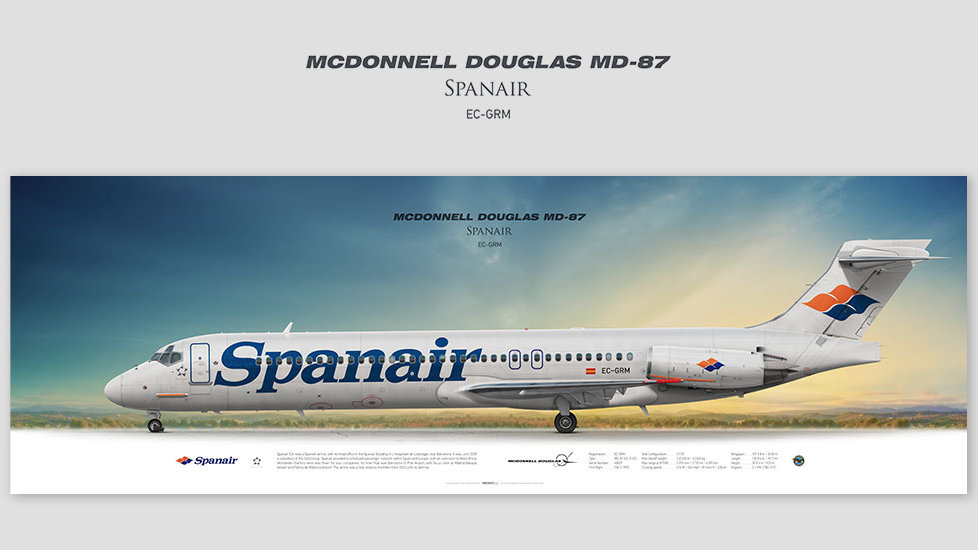 Mcdonnell Douglas MD-87 Spanair, posterjetavia, gifts for pilots, aviation, aviation art , avgeek, airplane pictures