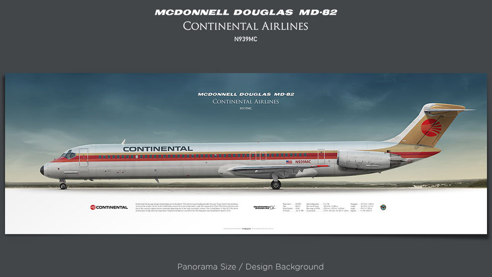 McDonnell Douglas MD-82 Continental Airlines, plane prints, retired pilot gift, aviation posters, airliners prints, jetliner