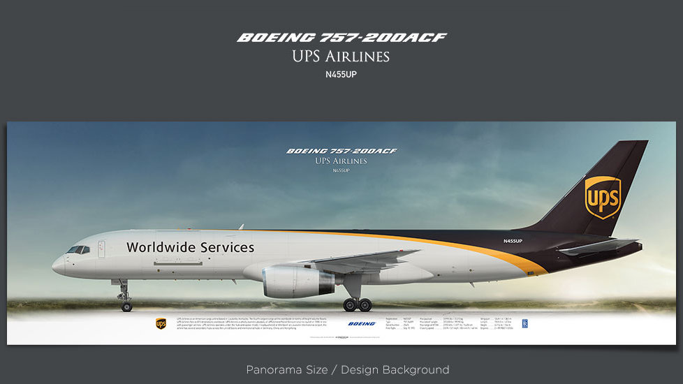 Boeing 757-200 UPS Airlines, plane prints, retired pilot gift, aviation posters, cargo aircraft, plane image, airliners print