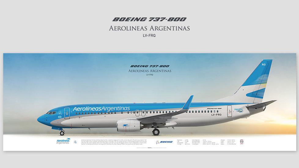 Boeing 737-800 Aerolineas Argentinas, posterjetavia, profile prints, gift for pilots, aviation